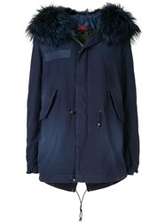 Mr And Mrs Italy Fur Trim Hooded Parka Coat Blue