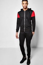 Boohoo Panel Tracksuit With Zip Detail Red