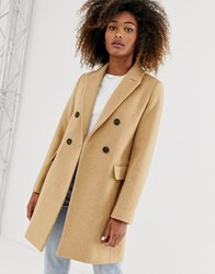 Stradivarius Double Breasted Tailored Coat In Camel Beige