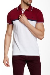 Micros Tailor Fit Short Sleeve Colorblock Polo Red