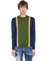 Dsquared Striped Wool Knit Jacquard Sweater Blue Green
