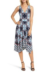 Maggy London Women's Print Fit And Flare Dress Soft White Begonia