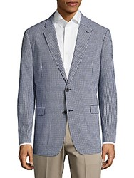 Tommy Hilfiger Plaid Buttoned Jacket Navy White