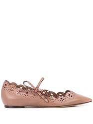 Tabitha Simmons Bobbin Cut Out Ballerina Shoes Brown