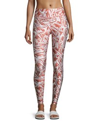 Terez Glitter Candy Cane Leggings Red Red Pattern