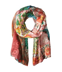Desigual Rectangle Anne Moss Scarves Green