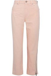3.1 Phillip Lim Zip Detailed High Rise Straight Leg Jeans Baby Pink