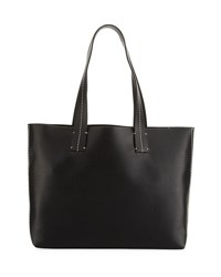 French Connection Farrah Topstitch Leather Tote Bag Black