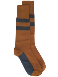 Marni Striped Socks Women Silk 10 Brown