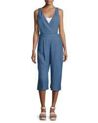 English Factory Chambray Culotte Jumpsuit Blue