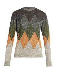 Marco De Vincenzo Diamond Intarsia Crew Neck Sweater Grey Multi
