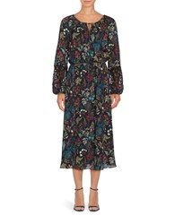 T Tahari Long Sleeve Marisole Peasant Maxi Dress Black Multi