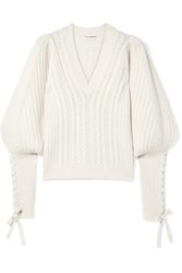 Ulla Johnson Brisa Lace Up Wool And Cashmere Blend Sweater Cream