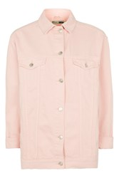 Topshop Tall Pink Elbow Ripped Jacket Pink