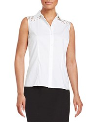 Nipon Boutique Dotted Button Front Shirt White