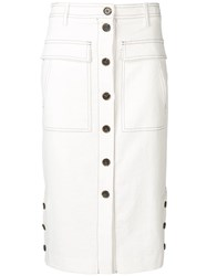 Sjyp Front Button Pencil Skirt White