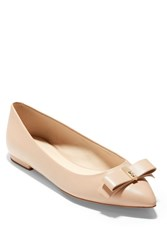 Cole Haan Elsie Leather Bow Skimmer Flat Nude Leath
