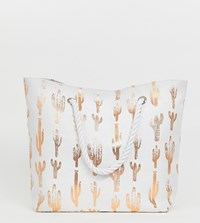 South Beach Exclusive Rose Gold Cactus Print Bag White