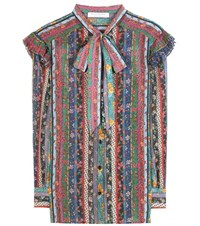 Philosophy Di Lorenzo Serafini Floral Printed Silk Georgette Blouse Multicoloured