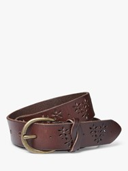 Fat Face Flower Cut Out Leather Jeans Belt Chocolate