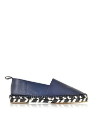 Proenza Schouler Blue Leather And Jute Espadrille Navy Blue