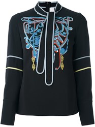 Peter Pilotto Embroidered Neck Tie Blouse Black