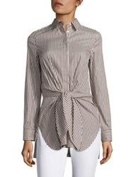 3.1 Phillip Lim Cotton And Silk Tie Front Shirt Ecru Brown