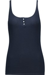 Enza Costa Ribbed Pima Cotton And Micro Modal Blend Jersey Tank Storm Blue