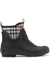 Burberry Checked Canvas And Rubber Rain Boots Black
