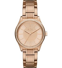 Armani Exchange Ax5442 Crystal Embellished Rose Gold Plated Watch