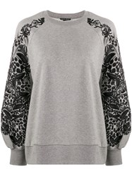 Ann Demeulemeester Floral Embroidered Sleeve Sweatshirt Grey