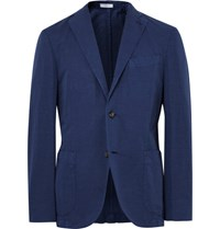 Boglioli Blue K Jacket Slim Fit Cotton And Linen Blend Suit Jacket Blue