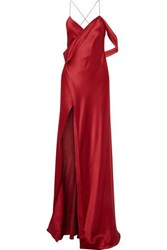 Michelle Mason Draped Silk Charmeuse Gown Red