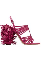 Moschino Fringed Leather Sandals Magenta