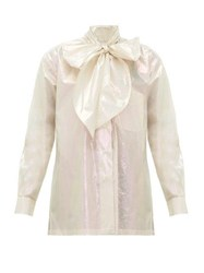 Christopher Kane Pussy Bow Iridescent Cotton Blouse Cream
