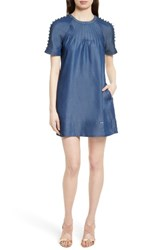Ted Baker Women's London Byass Button Detail Shift Dress Mid Wash