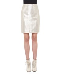 Akris Pencil Metallic Skirt Cremello