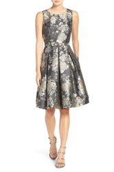 Eliza J Belted Jacquard Fit And Flare Dress Petite Gray