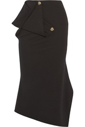 Victoria Beckham Draped Stretch Wool Midi Skirt