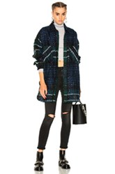 Faith Connexion Tweed Oversized Shirt In Blue Checkered And Plaid Blue Checkered And Plaid