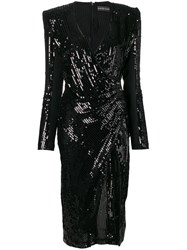 David Koma Sequin Fitted Dress Black