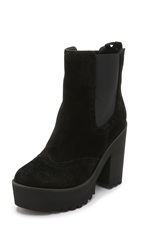 Paloma Barcelo Platform Suede Chelsea Booties Black