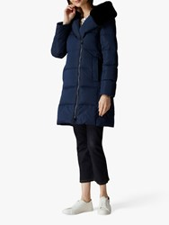 Jaeger Faux Fur Hood Coat Navy