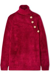 Balmain Button Embellished Chenille Turtleneck Sweater Red
