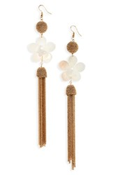 Leith Flower And Ball Chain Drop Earrings Gold White Pink