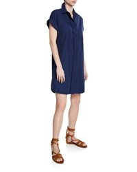 Finley Charlie Button Front Short Sleeve Dress Plus Size Navy
