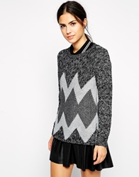 Pussycat London Zig Zag Jumper Grey