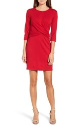 Gibson Knot Front Stretch Knit Body Con Dress Red