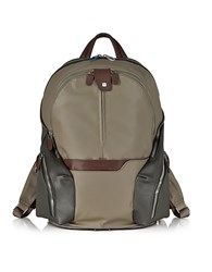 Piquadro Nylon And Leather Computer Backpack Turtle Dove
