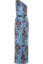 Matthew Williamson Akita One Shoulder Belted Printed Silk Chiffon Gown Bright Blue